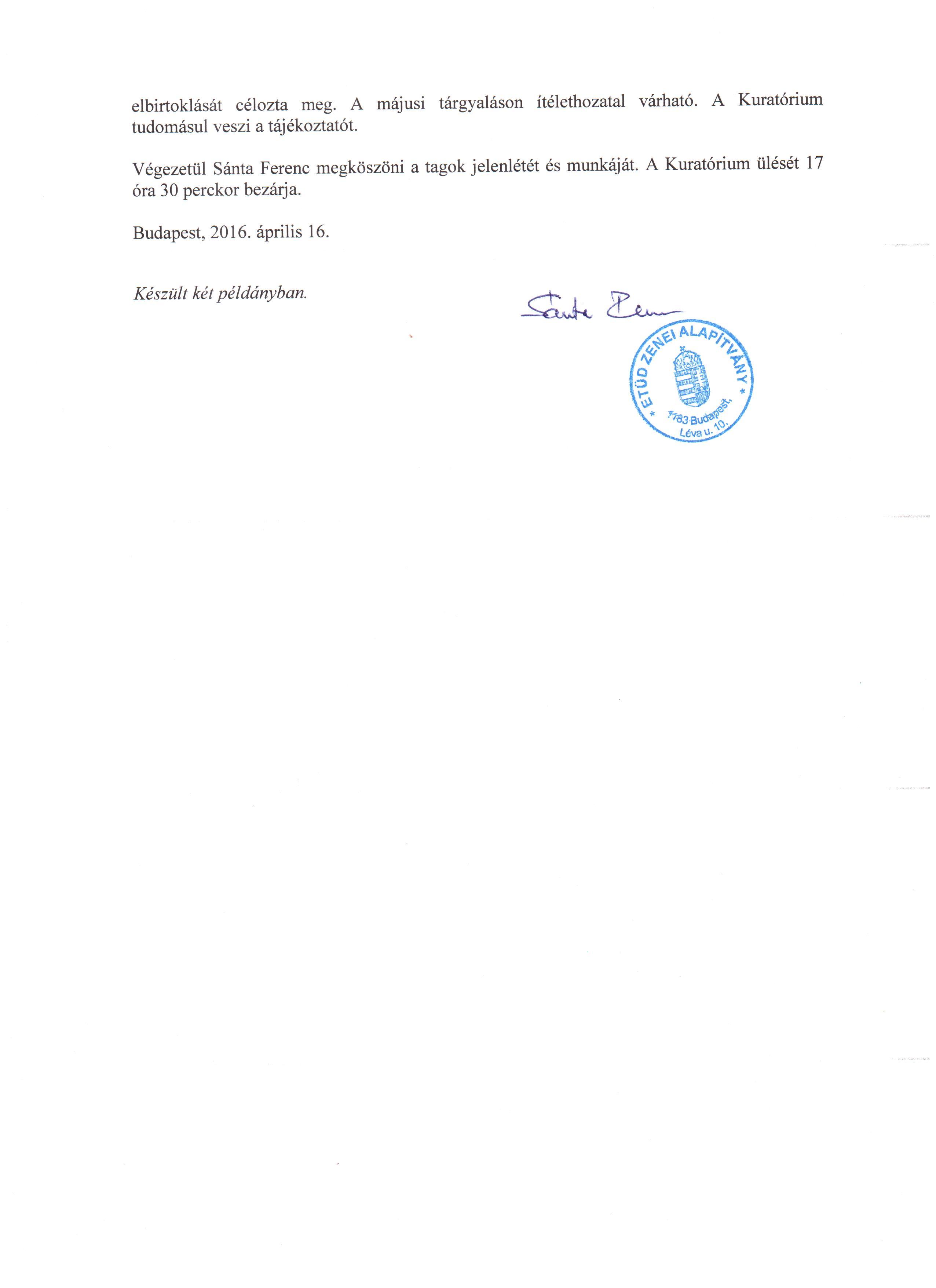 Jegyzőkonyv-kivonat a Kuratórium 2016. április 16-i üléséről-2.o.