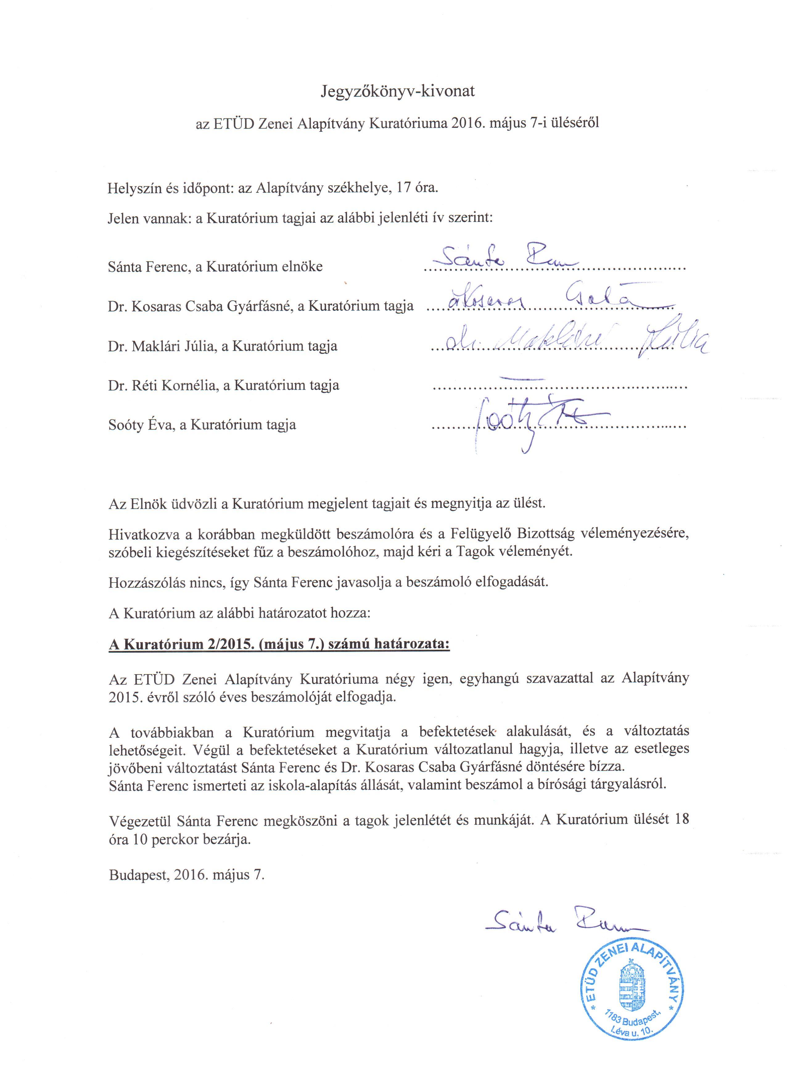 Jegyzőkonyv-kivonat a Kuratórium 2016. május 7-i üléséről